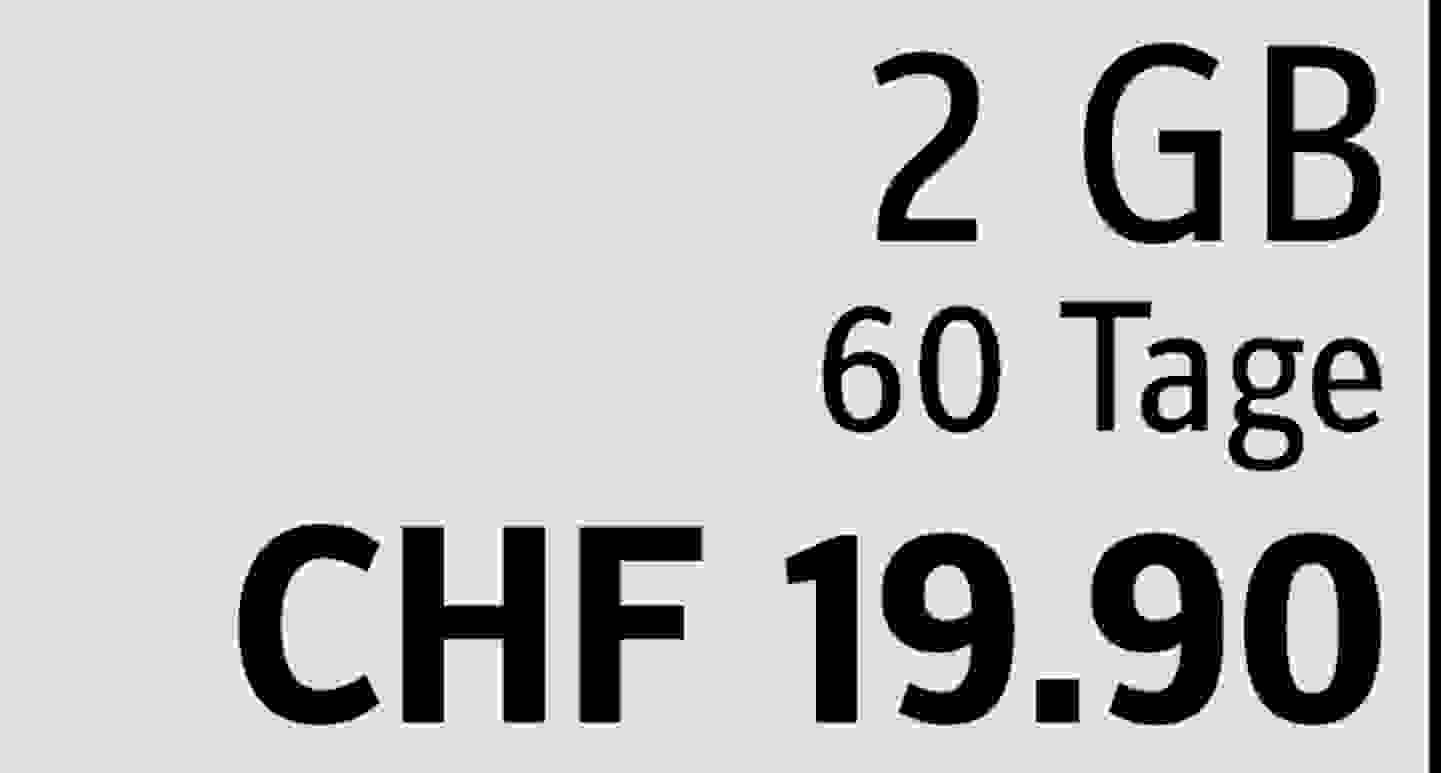 2 GB | 60 Tage | CHF 19.90  » Jetzt profitieren