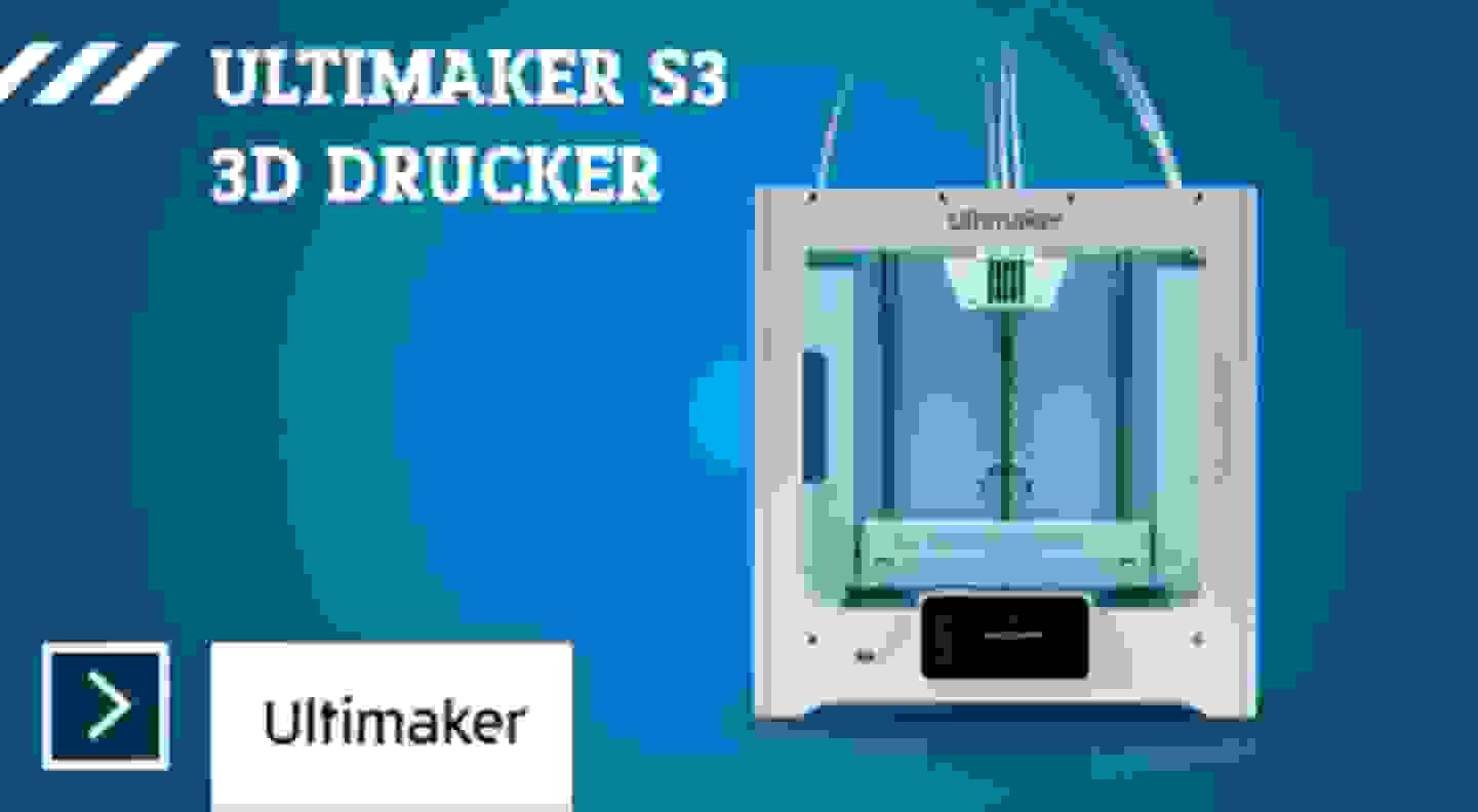 Ultimaker S3 3D Drucker beheizbares Druckbett, Dual-Düsen-System (Dual Extruder)