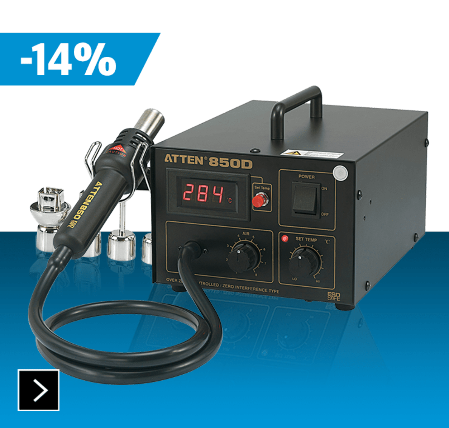 Toolcraft -Heissluftstation digital 550 W +100 bis +480 °C