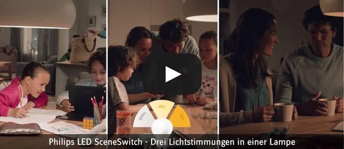 Philips LED SceneSwitch - Drei Lichtstimmungen in einer Lampe