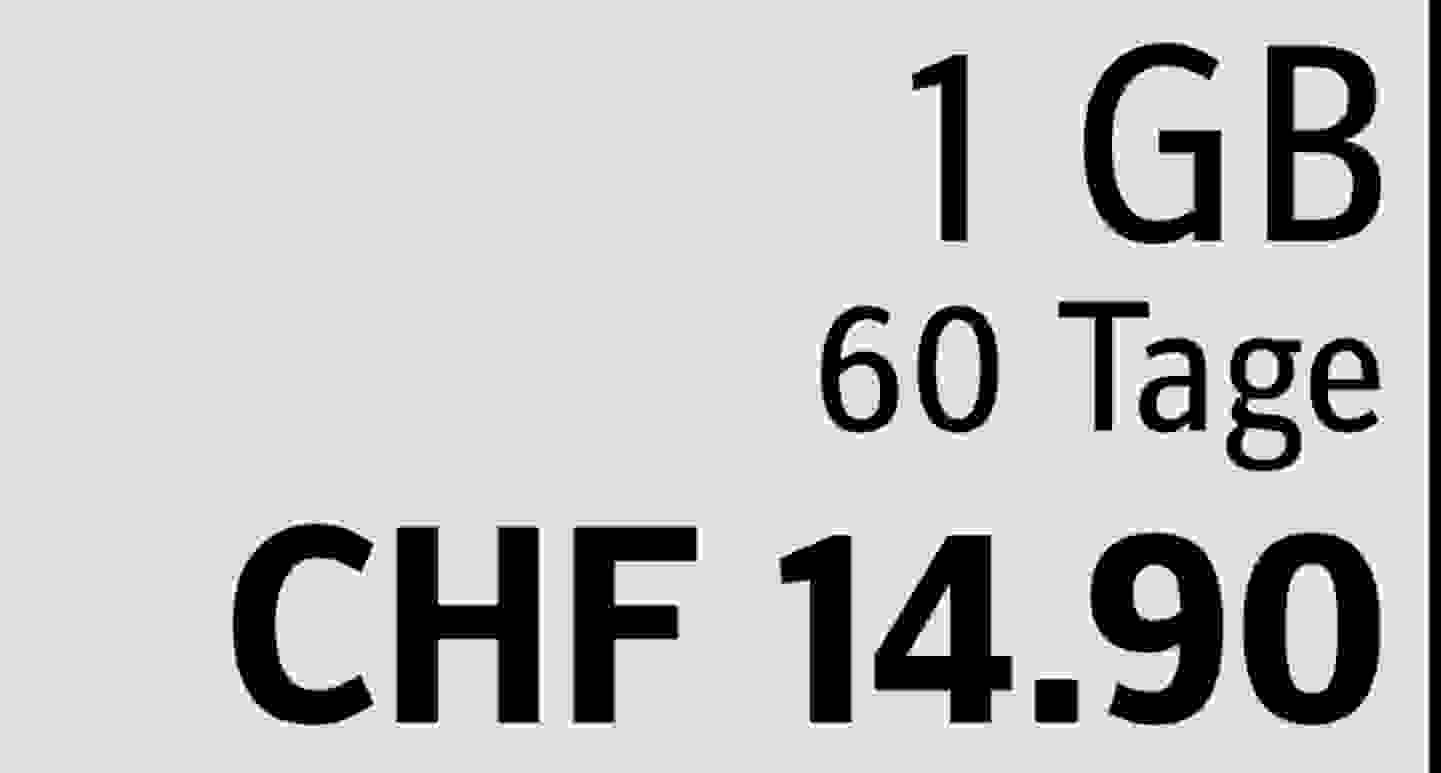 1 GB | 60 Tage | CHF 14.90  » Jetzt profitieren