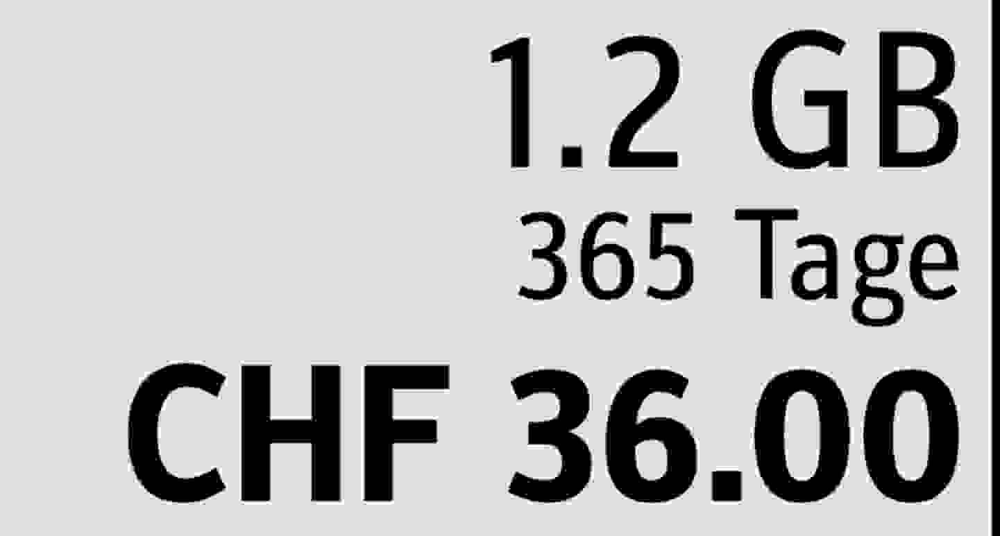 1.2 GB | 365 Tage | CHF 36.00  » Jetzt profitieren