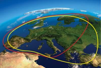 Ausleuchtzonen Astra (rot) und Eutelsat (gelb)
