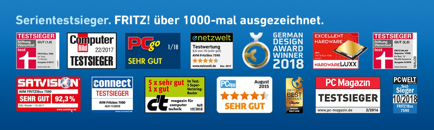 Serientestsieger. FRITZ! über 1000-mal ausgezeichnet