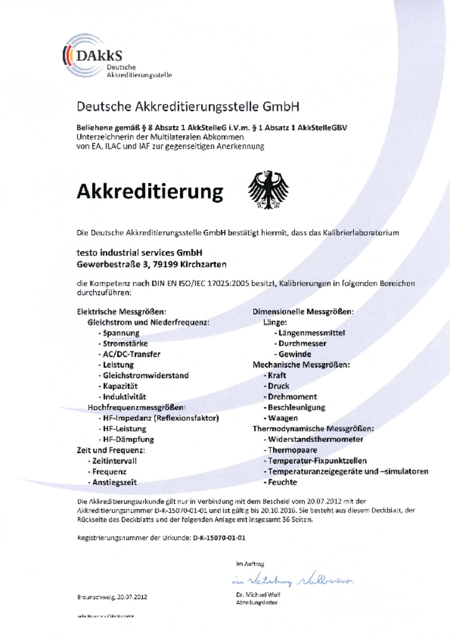 Testo Idustrial services DAkkS (vormals DKD)-Zertificat downloaden