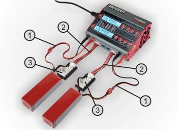 Modeloplader til to batterier