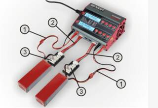 Model-making charger for two rechargeable batteries