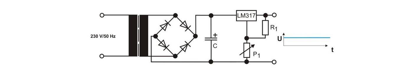 Schematische Darstellung eines einstellbaren Netzteils
