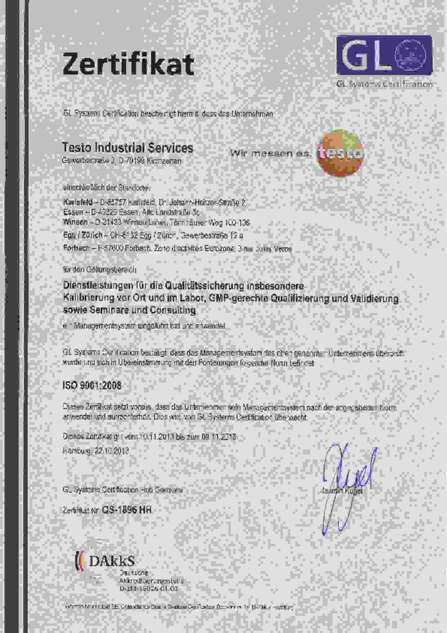 Testo Idustrial services ISO-Zertificat downloaden