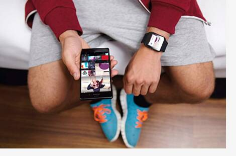 man with smartwatch
