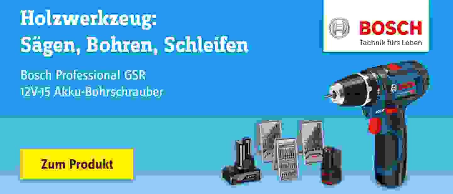 Bosch Professional - GSR 12V-15 Akku-Bohrschrauber 12 V 2 Ah Li-Ion inkl. 2. Akku, inkl. Zubehör, inkl. Tasche