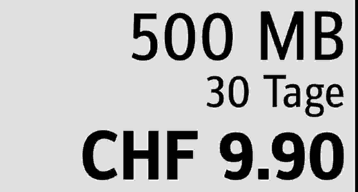 500 MB | 30 Tage | CHF 9.90  » Jetzt profitieren