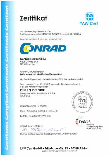 Conrad ISO Zertifikat downloaden
