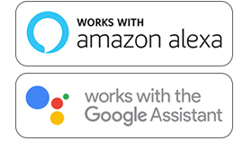 Works with Amazon Alexa an Google Home