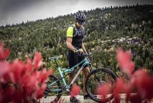 Mann mit Mountainbike auf Kiesweg