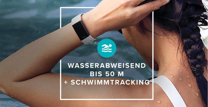 Fitbit® Charge 3™ ist bis 50 m Tiefe wasserabweisend