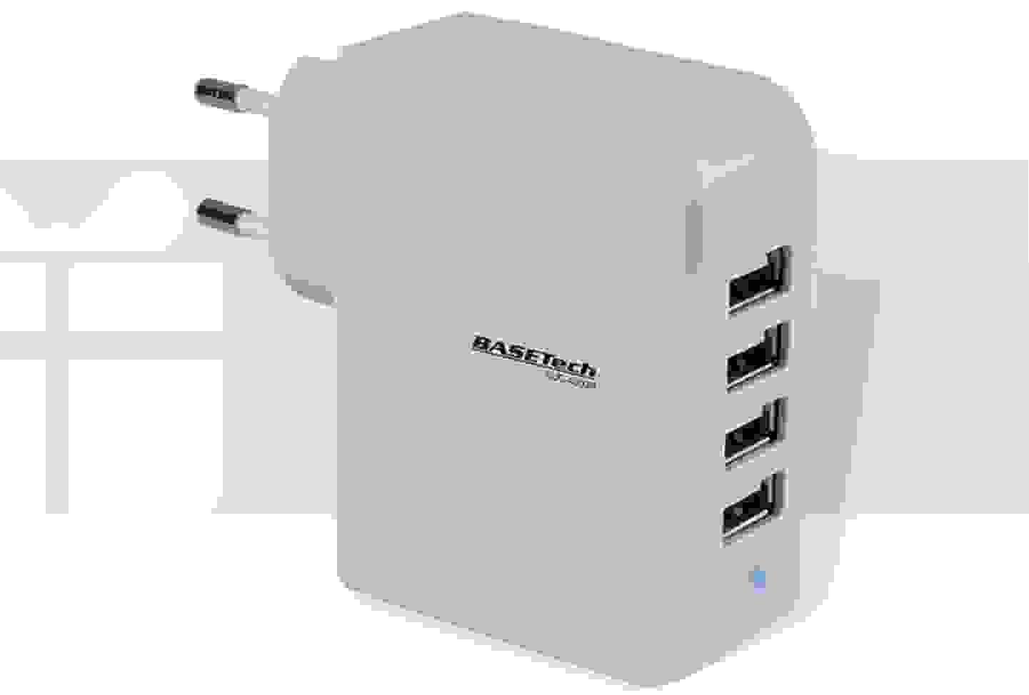 Basetech - USB-Ladegerät Steckdose Ausgangsstrom - 4 x USB