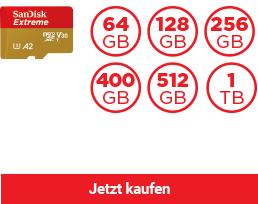 SanDisk Extreme® microSDHC™/ SDXC™ Speicherkarte (A2)