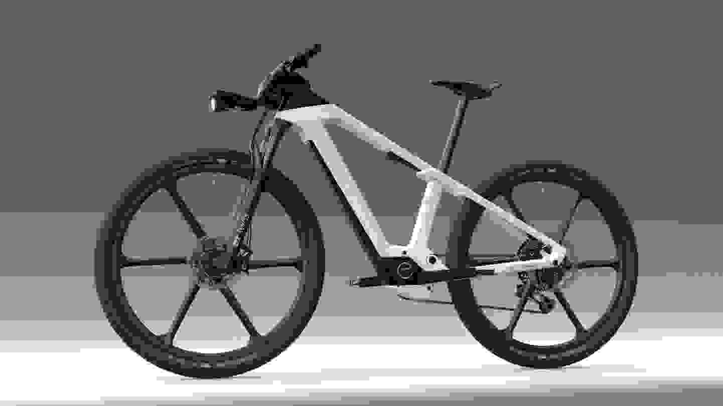 Bosch E-Bike mit verbautem Akku im Rahmen.