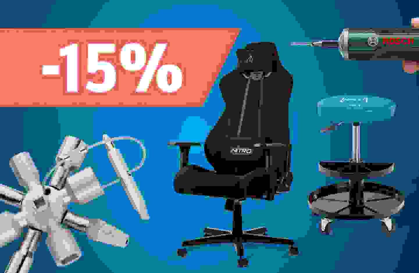 Remise sur gamme: 15% sur les tournevis et les chaises de travail et gaming - En profiter »