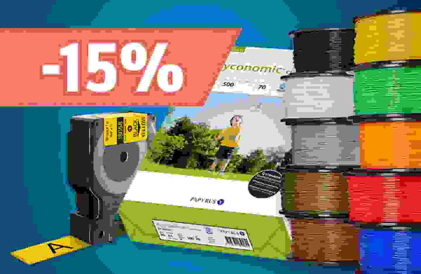 Remise sur gamme: 15% de remise sur les papier, films, étiquettes et les filaments pour imprimantes 3D - En profiter »