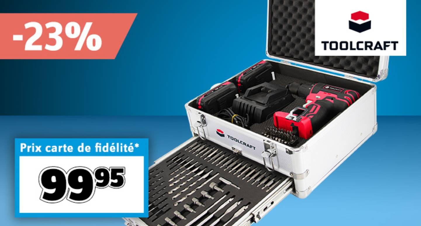 TOOLCRAFT- Perceuse-visseuse à percussion sans fil 20 V avec accessoires