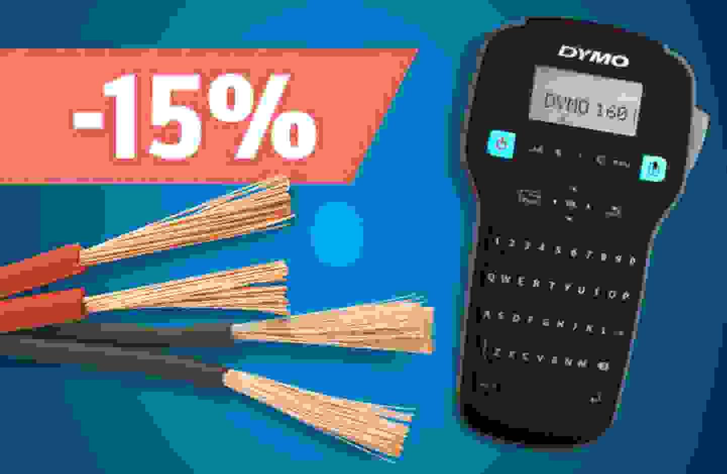 Promotion: 15% de remise sur les étiqueteuses & accessoires et sur les câbles jumelés & multibrins