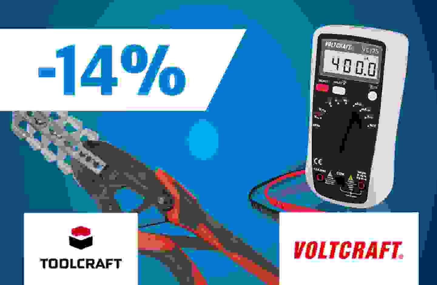 Profitez dès maintenant de 14% de remise sur l'ensemble des gammes Voltcraft et Toolcraft