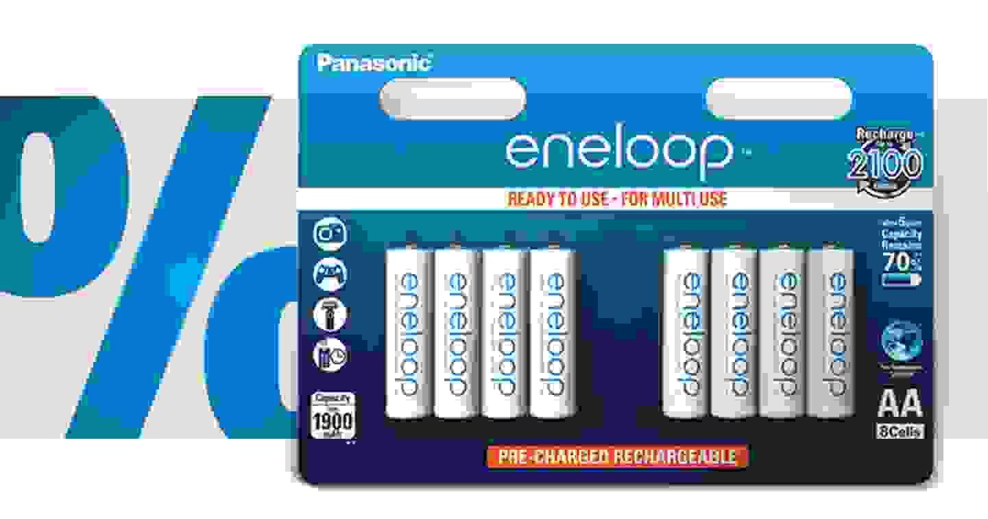 Panasonic - eneloop HR06 - Lot de 8 accus (AA) NiMH 1900 mAh 1.2 V »