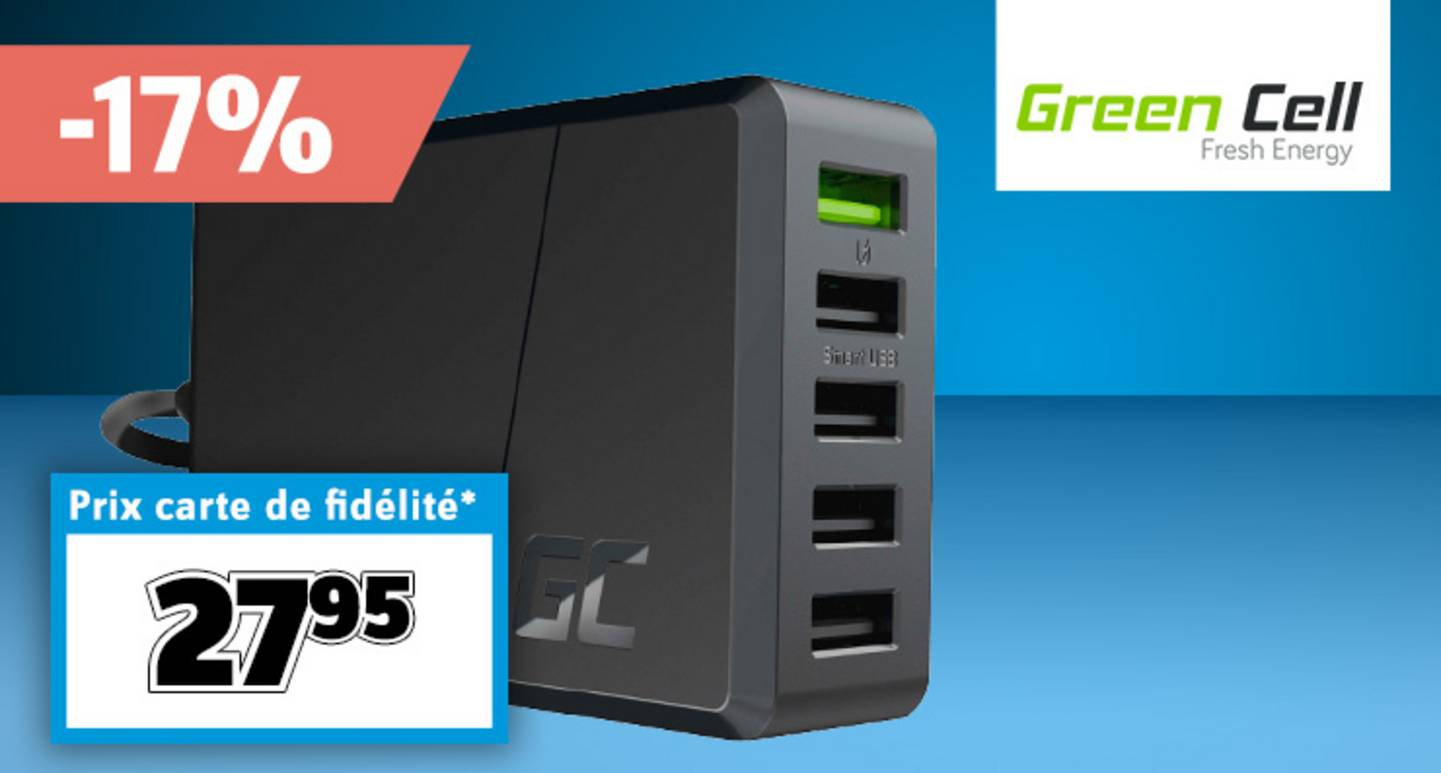 Green Cell - Station de charge USB ChargeSource 5, courant de sortie de prise (max.) 2400 mA 5 x USB