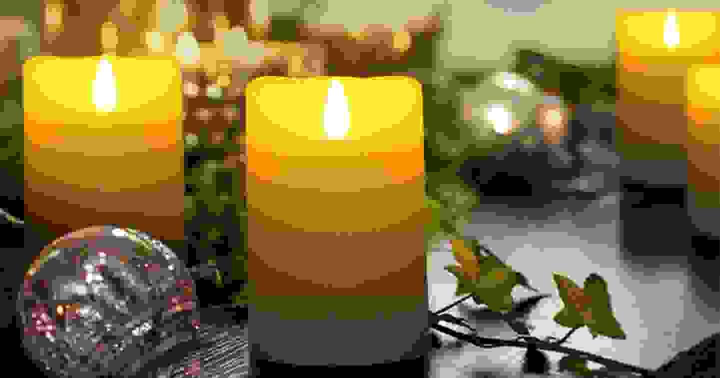 Bougies LED en cire véritable avec minuterie et effet scintillant